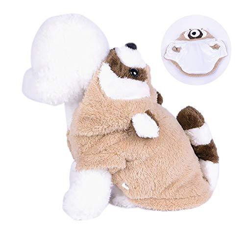 Xiton Haustier-Plüsch-Kostüm-Welpen-Winter-Overall-Mantel mit Kapuze Nette Kleidung für die Kleinen Hund 1PC (XL)