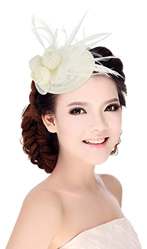 Kostüm Kate Hochzeit Kleid - DEMU Damen Elegant Fascinator Hut Braut Hair Clip Cocktail Tea Party Headwear Haarschmuck Weiß