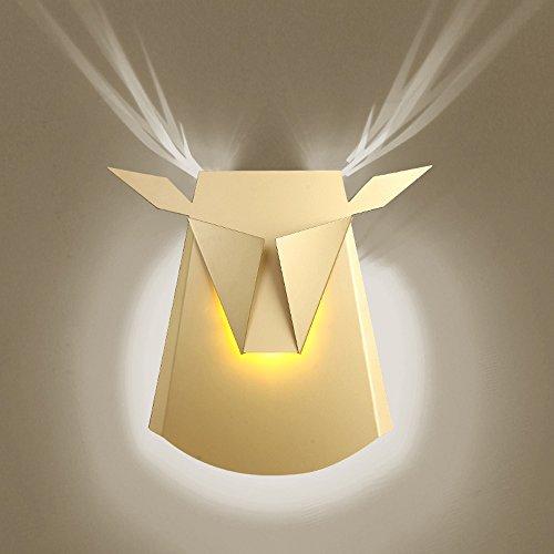 Hines 10W Moderne Cattle Head LED Wandleuchte Eisen Metall Wandmontage Stag's Head Wandleuchte Nordic Postmodern Energiesparende Wohnzimmer Schlafzimmer Nachttischlampe Creative Aisle Corridor Staircase Wandleuchte(Gold) (Birne Gold-wandhalterung)