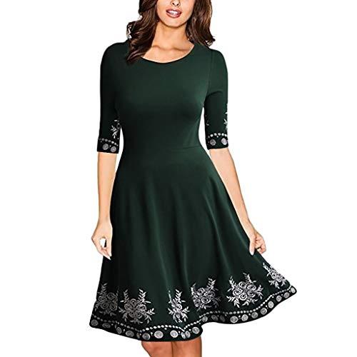 Younthone Damen Casual Langes Shirt Lose Tunika Kurzarm T-Shirt Kleid Sommerkleider Rundhals Kurzarm T-Shirt Kleid Elegant Bedrucktes Damenkleid (XXXL,Grün)