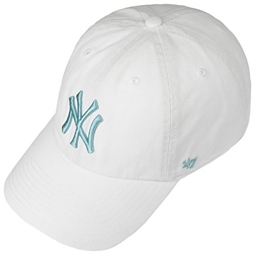 Imagen de  curva blanca con logo azul de new york yankees mlb clean up de 47 brand  blanco, talla única alternativa