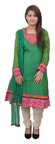 Manshi Women's Chandri Silk Salwar Suit Set (Green & Pink, Medium)