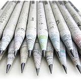 Plantcil Kids Classic Newspaper Pencil, Ecofriendly, 100% Recycled News Paper Pencil, Eco Pencil, Pack of 10 with eraser and sharpener