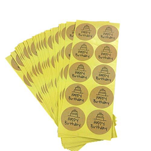 yunkanda 100 Teile / Los Kawaii Studenten DIY Alles Gute Zum Geburtstag Kraftpapier Dichtung Aufkleber Kreis Für Hausgemachte Produkte Bäckerei Verpackung Liefert (Kreis-aufkleber Geburtstag)