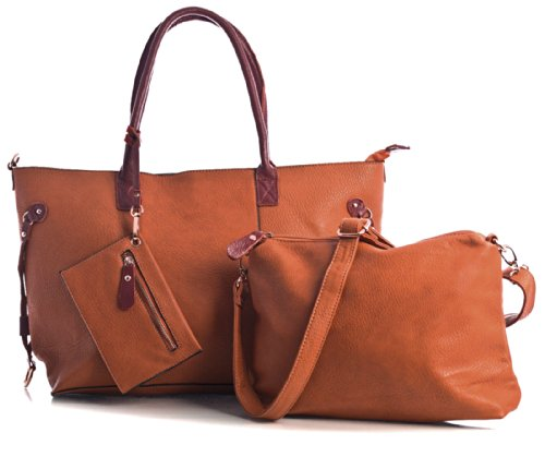 Big Handbag Shop donna top con apertura zip 3in 1Borsa Shopper Borsa con tracolla lunga, e portare borsa media Deep Orange