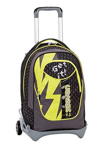 Imagen de 3en1  con ruedas  seven new jack  flash up  amarillo negro  extraíble y lavable  trolley con correas de hombro ocultables  escuela y viajes  35lt nuevo!