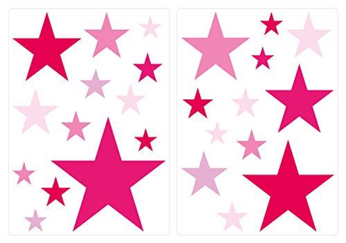 """I-love-Wandtattoo WAS-10104 - Set de pegatinas de pared para habitación infantil """"estrellas en rosa para las niñas"""", para pegar, tatuaje mural, pegatinas, decoración de pared 25 piezas"""