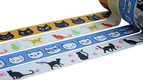 Washi Tape Sets 15mm x 10Meter Rollen, dekorative Maskierung Tapes Auswahl an Designs und Farben Katzendesign