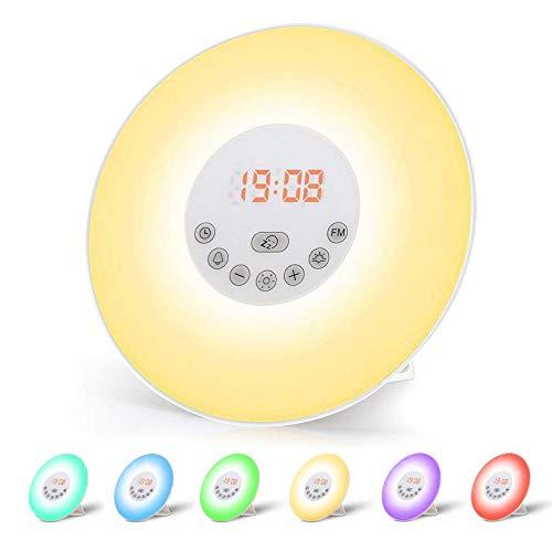 Réveil Lumière, omitium Lampe Réveil Veilleuse Lumière LED Tactile contrôle Lever/Coucher du Soleil/Snooze/Radio FM/6 Sons Naturels/6 couleurs/10 Niveaux de Luminosité/pour Enfant Bébé Adulte