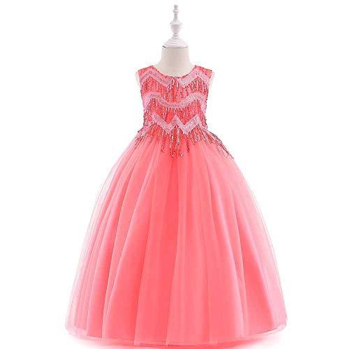 Easy Go Shopping Mädchen Schulterfrei Bowknot Prinzessin Kleid Satin Blume Hochzeit Kostüm Klavier Performance Kleidung,Grille Schuhe (Color : Rose, Size : 4-5Years) (Kinder Klavier Kostüm)