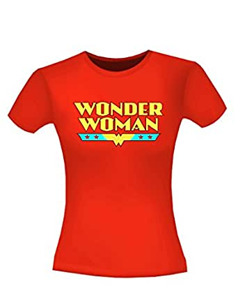 """Wonder Woman T-Shirt, Womens Officially Licensed Logo Red, S/M, Bust 30 - 32"""""""
