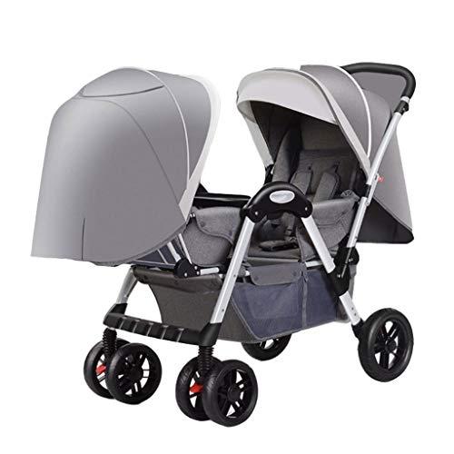 Carritos y sillas de Paseo El Cochecito de bebé de los Gemelos se Puede sentar y Plegar. Carro Cara a Cara de Babys. Reclinación Doble Doble Se Puede sentar y Plegar Bebé Sillas de Paseo