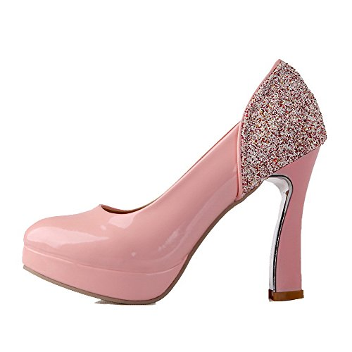 AgooLar Femme Tire à Talon Haut Verni Couleur Unie Rond Chaussures Légeres Rose