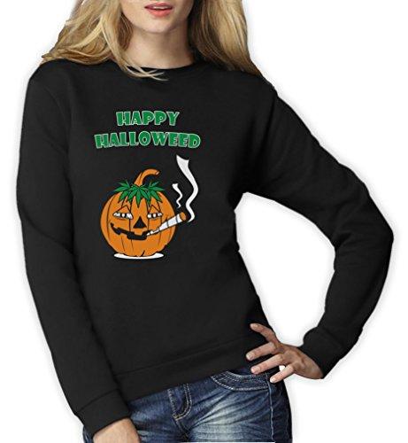 Glückliche Halloweed Frauen Schwarz XX-Large Sweatshirt (Stoner Kostüm)