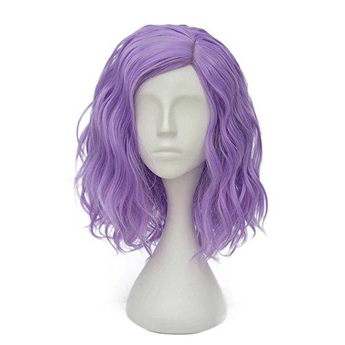 ches(35CM) Kurz Lockig Lolita Party Dame Cosplay Hair Full Wig Perücke (Helles Lila) ()