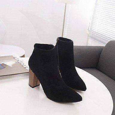 Rtry Femmes Chaussures Pu Automne Confort Mode Bottes Bottes Chunky Talon Toe Bottes Mi-mollet À Glissière Pour Casual Kaki Noir Brun Us6 / Eu36 / Uk4 / Cn36