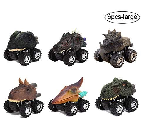 Yeelan 6 stücke Push and Go Reibung Angetriebene Dinosaurier Autos Dino Trägheit Auto LKW Spielzeug Big Dragon Tier Fahrzeug mit Reifen Rad für Kinder/Kleinkind (10x8x12 cm/ 3,94x3,15x4,7 Zoll, groß) (Spielzeug Dinosaurier Big)