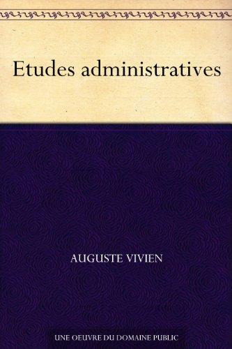 Couverture du livre Etudes administratives