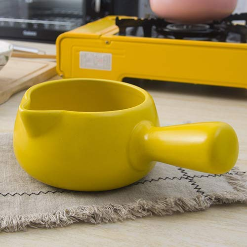 Monfs Home Bratpfannen Woks & Pfannenpfannen Babynahrungsergänzung Emaille Einzelgriff Kleine Milchkanne Keramik Nudeln Reisnudel Milch Milch Hot Pot, Rot (Color : Yellow)