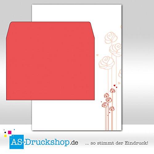 Papier + Umschläge DIN A5 Liebe - Gezeichnete Rose/50 Sets