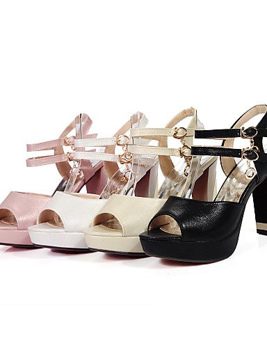 UWSZZ IL Sandali eleganti comfort Scarpe Donna-Sandali-Formale-Spuntate / Aperta-Quadrato-Finta pelle-Nero / Rosa / Bianco / Beige Pink