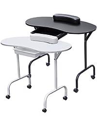 Beyondfashion - Mesa para manicura (plegable, con cajón, reposamuñecas y funda de transporte) blanco 94 cm x 44 cm(modacrílico)