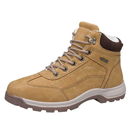 HDUFGJ Herren Trekking-& Wanderhalbschuhe Plus Samt Warm halten rutschfeste Schneeschuhe Outdoor-Schuhe Reiseschuhe Verschleißfest Wasserdicht Freizeitschuhe Leichtgewicht Damen40(Gelb)