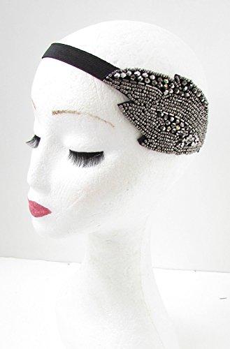 Gris anthracite deco ANNÉES 1920 Flapper Feuille bande de cheveux Bandeau à perles vintage Great Gatsby ANNÉES 30 Y52 * * * * * * * * exclusivement vendu par – Beauté * * * * * * * *