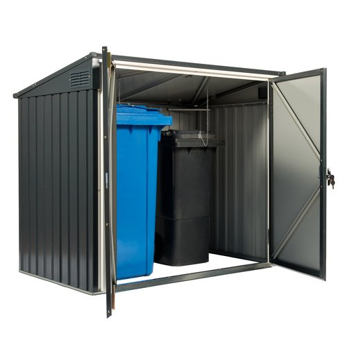 #Tepro Mülltonnenbox, anthrazit / weiß, 154.2 x 96 x 130.5 cm#