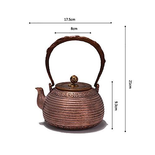 Mfun-CH Kupfer Teekanne Handwerk Reines Kupfer Material Handgefertigte Verdickte Küchenutensilien Geschnitztes Wasser Kochen Tee, 1,2 L