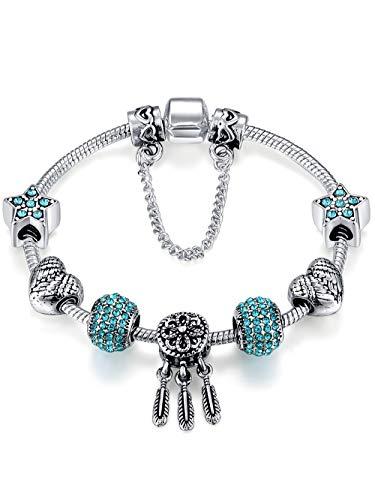 Presentsk Dream Catcher Silber Charm Armband mit Engelsflügeln Blue Beads Frauen