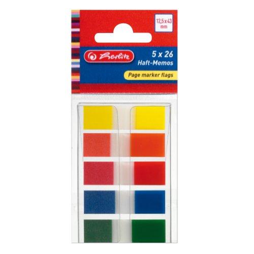 Herlitz 11233947 - Marcadores de páginas adhesivos (12,5 x 43 mm, 26 hojas de 5 colores)
