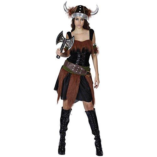 Spassprofi Samt Kostüm Wikinger Frau mit Wikingeraxt Samtkostüm (Wikinger Frau Kostüm)