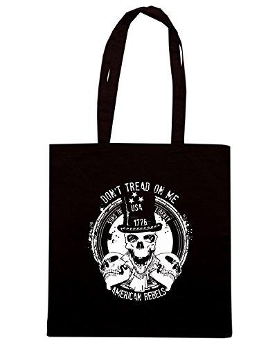 T-Shirtshock - Borsa Shopping TM0621 dont tread on me american rebels Nero
