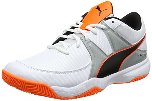 Puma Herren Explode 3 Handballschuhe, Weiß White-Quarry-Shocking Orange 02