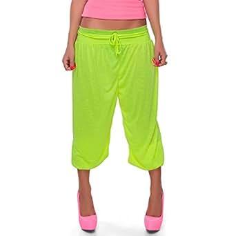 24brands Damen kurze Harem Freizeithose Sporthose Tanzhose Sweathose Capri Shorts Sommer Stoffhose - 2269, Größe:S/M;Farbe:Gelb (Neon)