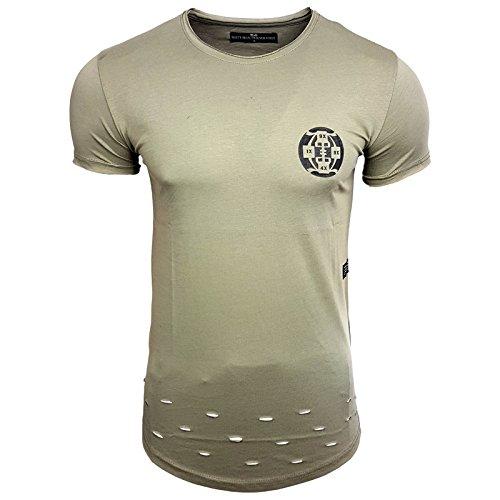 HERREN T-Shirts TShirt NEU Größe S M L M XL XXL RN15084 RUNDHALS KURZARM Regular Khaki