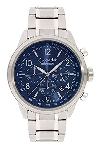 Gigandet Quarz Herren-Armbanduhr Journey Chronograph Uhr Datum Analog Edelstahlarmband Blau G25-004 (Sportuhr Herren Blau)