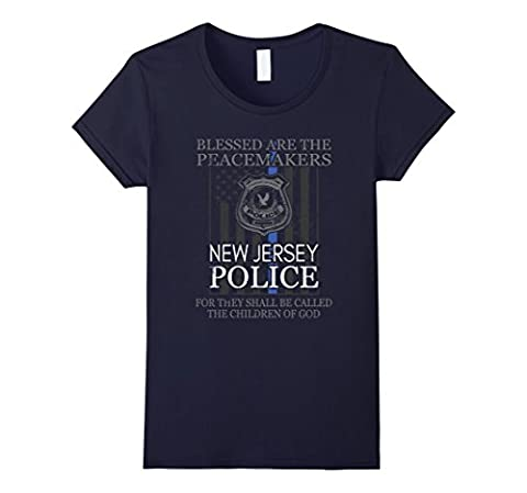 Women's New Jersey Police Support Peacemakers Police Mom Shirt Small Navy