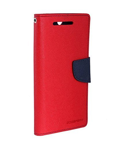 S.S. Jewel Mercury Diary Style Flip Cover for Micromax A110 (Ultra Compact with Stand, Credit Card Slots & Wallet) - Red