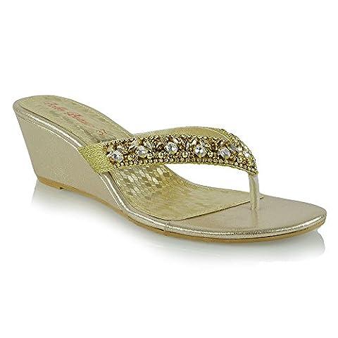 Womens Low Wedge Heel Toe Post Diamante Sandals Ladies Sparkly Flip Flops 3-8