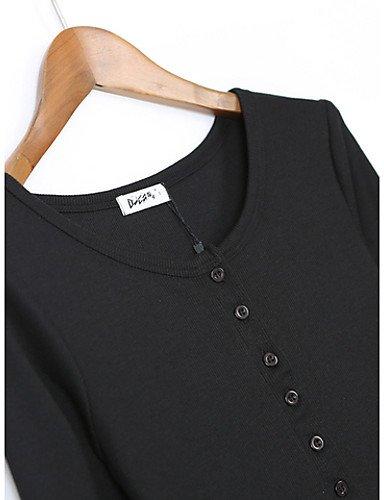 PU&PU Robe Aux femmes Moulante Simple,Couleur Pleine Col Arrondi Mini Polyester BLACK-M