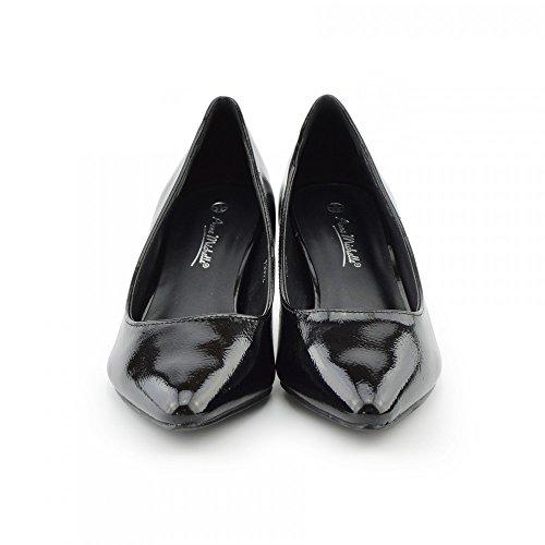 Kick Footwear - Donna Brevetto Punta tacco Gattino Scarpe Tallone,scarpe donna,tacco basso scarpe Vernice Nera