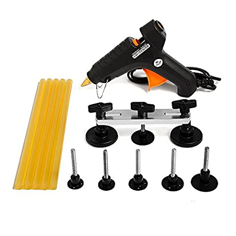 Car Body Dent Bridge Puller Mookis Paintless Dent Removal PDR Tools with 40w Hot Melt Glue Gun, 5 Glue Sticks, 6 Glue Tabs for Auto Motocycle Dent