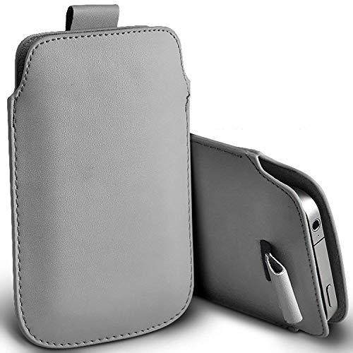 i-Tronixs (Grey 147.1 x 68.08 mm) Pouch Tasche SchutzHulle fur Vodafone Smart N9 2018 case Premium Stylish Faux Leather Pull Tab Pouch Skin Tasche SchutzHulle fur Vodafone Smart N9 2018 case by