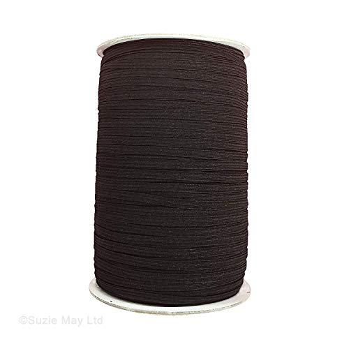 Trimming Shop Elastische Kordel zum Basteln von Taillenbändern, Armbändern, Dessous, Bändern, Stoffarbeiten, DIY-Projekte, elastisch und dehnbar, elastischer Stoff, Schwarz, 5mm x 100m