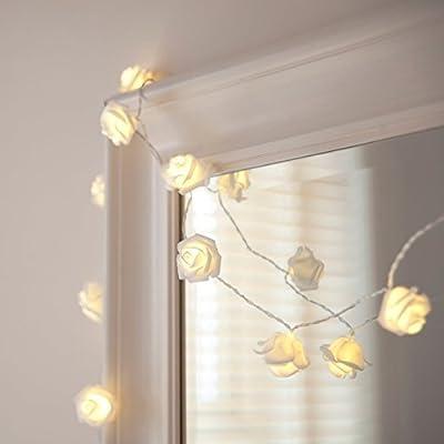 ERGEOB 2m 20er LED Rosen Lichterkette warmweiß batteriebetrieben Weihnachtsbeleuchtung