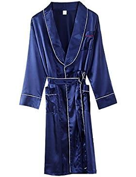 PFSYR Albornoz de los hombres Cómoda pijama suave/Primavera y otoño ropa para el hogar Larga túnica de manga larga