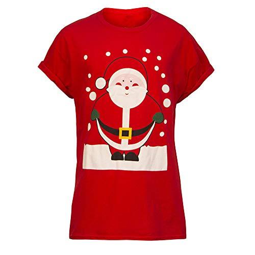 UFODB Christmas Shirt Damen Herren Unisex Printing Kurzarm-Shirt Oberteile Xmas Casual Mode Bluse Frühling Sommer T-Shirt Frauen Locker Rundhals Hemd Tops