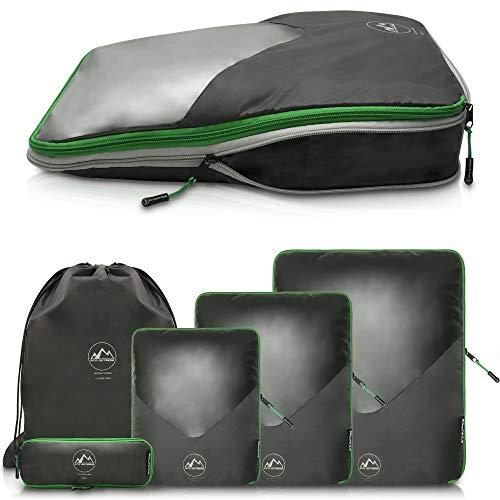 Premium Packing Cubes Set mit Kompression und Sichtfenster I wasserdichte Kleidertaschen für Koffer und Rucksack I Packing Cube oder Packtaschen für Rucksack und Koffer I Packwürfel für Rucksack oder